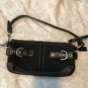 Coach small purse black canvas coach pattern
